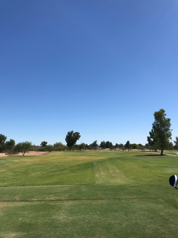 The tee shot at the par 5, 1st